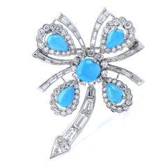 Vintage Diamond Turquoise Platinum Cabochon Flower Brooch Pin Pendant