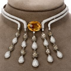 Estate Diamond Citrine 18K Gold Dangle Drop Choker Necklace