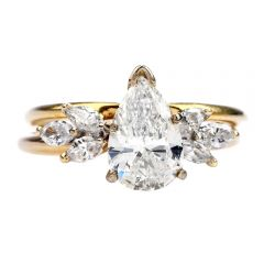 Estate Pear Cut Diamond 14K Gold Bridal Set Engagement Ring