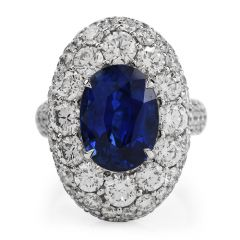 Natural Certified 13.00cts Ceylon Sapphire Diamond 18k Gold  Cocktail Ring