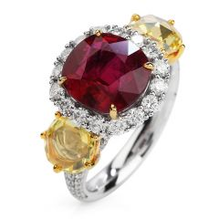 Certified Cushion Ruby Fancy Yellow Rose Diamond 18K Gold Three Stone Ring