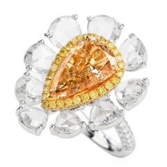 GIA Natural Brown Yellow Diamond Floral  18K  Cocktail Ring