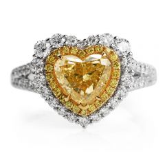 GIA 2.16ct Fancy Yellow Heart Diamond 18K Gold Engagement Ring