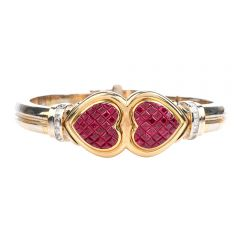 Estate Retro Ruby Diamond 18K Gold Double Heart Bangle Bracelet