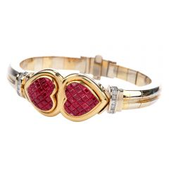 Estate Retro Ruby Diamond 18K Gold Double Heart Bangle Bracelet