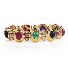 Retro Diamond Sapphire Ruby Emerald 14K Gold 1980s Oval Link Bracelet