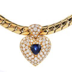 Estate Heart Diamond Blue Sapphire 18K Gold Pendant Elegant Link Necklace