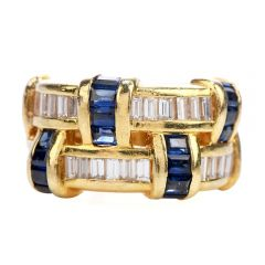 Estate Retro Sapphire Diamond 18K Gold Woven Wide Band Ring