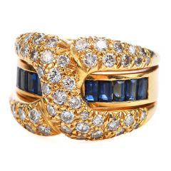Estate Retro Diamond Sapphire 18K Gold 'X' Band Ring