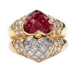 Estate Ruby Diamond 18K Gold 1980s Double Heart Cocktail Ring