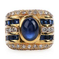 Estate 1980s Diamond Sapphire 18K Gold Wide Band Ring