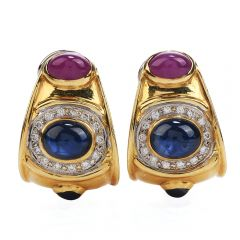 Retro Diamond Sapphire Ruby 18K Gold 1980s Clip On Earrings