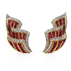 Estate Retro Diamond Ruby 18K Gold Ear-cuff Clip On Earrings