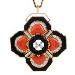 Estate Large Coral Onyx Diamond Gold pendant