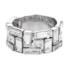 6.20 Baguette  princess Diamond 18k Gold  Wide Band Ring