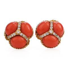 Vintage Red coral Diamond 18k gold clip on earrings