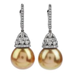 Diamond Golden Southsea Pearl 18K Gold Drop Earrings