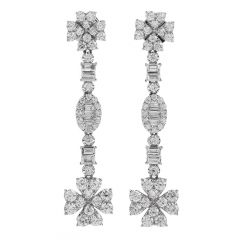 Estate 3.20 Diamond 18K Gold dangle drop Earrings