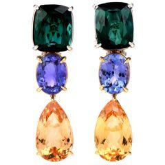 Estate Tourmaline Tanzanite & Imperial Topaz 18K Gold Drop Dangle Earrings
