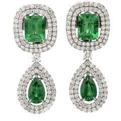 Diamond Colombian Emerald 18K Gold Halo 12.27ct Drop Earrings