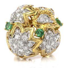 Estate Diamond Emerald 18K Gold Large Star Cocktail Ring