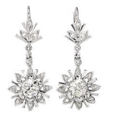 Vintage Diamond  Old European Daisy Drop 18k Gold Dangle Earrings