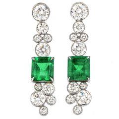 Estate Diamond Colombian Emerald 18K Gold Drop 5.23ct Earrings