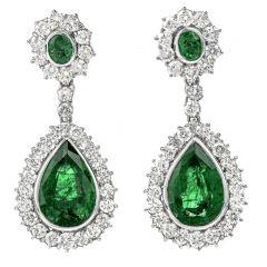 Yanes 21.56cts Diamond Zambian Emerald 18K Gold Pear Drop Dangle Earrings
