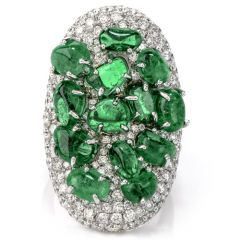 Estate Diamond Colombian Emerald Platinum Cabochon Cluster Ring