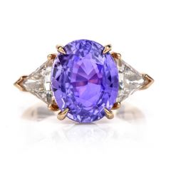 GIA Natural 9.25cts Diamond Purple sapphire 18K Gold 3 Stone Oval Ring