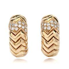 Bvlgari Diamond 18K Gold Spiga Textured Curve Hoop Earrings