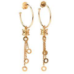 Bvlgari 18K Gold B.Zero1 Dangle Hoop Earrings