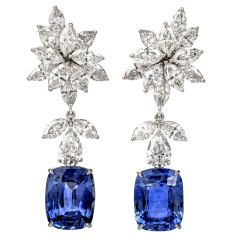 17.32cts  Diamond Natural Ceylon Sapphire 18K Gold  Cushion Drop Earrings