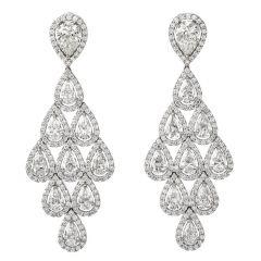 Estate Diamond 18K Gold Pear Halo Drop Chandelier Earrings