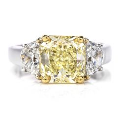 GIA Fancy Light Yellow Diamond 18K Gold Radiant Three Stone Ring