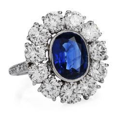 Estate Certified 4.10ct Ceylon Sapphire Diamond Platinum Flower Engagement Cocktail Ring