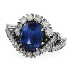 Vintage 4.03ct Ceylon Sapphire Diamond 18K Gold Bypass Cocktail Engagement Ring