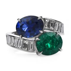 Estate Certified Colombian Emerald & Ceylon Sapphire Diamond Platinum Bypass Ring