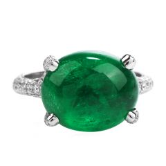 Estate 6.92ct Oval Colombian Emerald Diamond 18K Gold Cocktail Ring