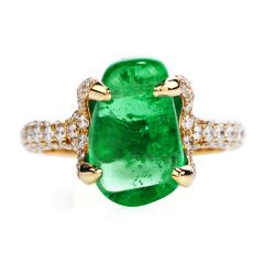 Estate 5.53ct Colombian Cabochon Emerald Diamond 18K Gold Cocktail Ring