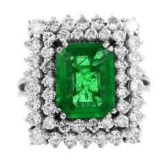 Estate AGL 2.48ct Colombian Emerald Diamond Platinum Rectangular Cocktail Ring