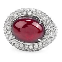 Estate 14.26ct Cabochon Ruby Diamond 18K Gold Halo Cocktail Ring