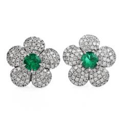 Estate Flower 1.23ct Colombian Emerald Diamond 18K Gold Stud Earrings