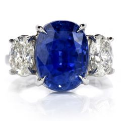GIA Certified No Heat Ceylon 14.23 Carat Blue Oval Cut Sapphire & Diamond Platinum Ring