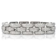 Chopard Diamond 18K White Gold 12ct La Strada Pave Link Bracelet