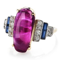 GIA Natural Burmese Ruby & Diamond 14K Gold Vintage Ring.