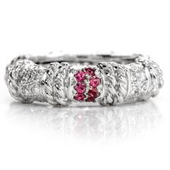 CASSIS Diamond Pink Sapphire 18K Gold Eternity Stack Band Eternity Ring