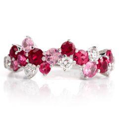 Designer MP Diamond Ruby Sapphire 18K Gold Cluster Ring
