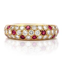Vintage Cartier Diamond Ruby 18K Gold Pave Dome Bombe Band Ring