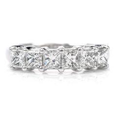 Estate Diamond Platinum 6 Stone Princess Cut Wedding Band Ring